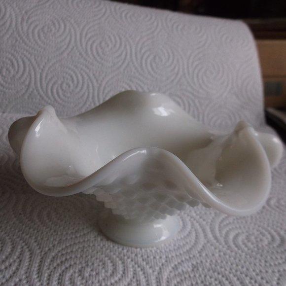 vintage hobnail milk glass bowl.